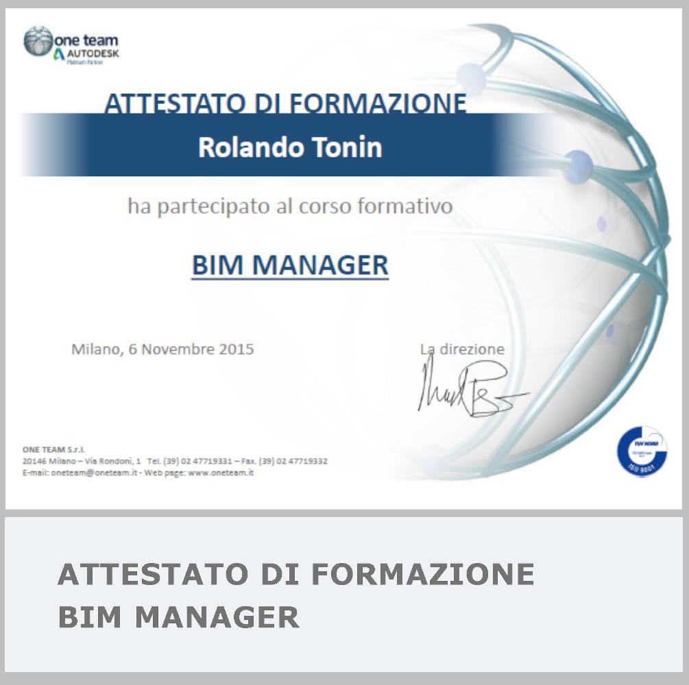 Certificazioni BIM Manager Attestato E-Farm Studio Ingegneria Padova
